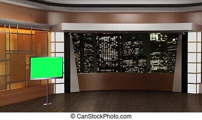 News TV Studio Set - - News TV Studio Set 84-Virtual Green...