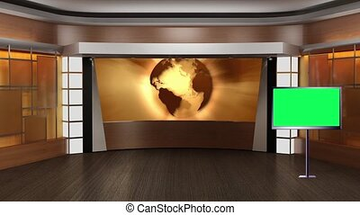 News TV Studio Set- - News TV Studio Set 83-Virtual Green...