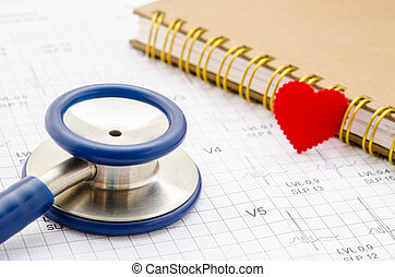 Medical stethoscope and red heart lying with diary.