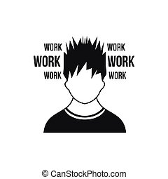 Man and work words icon, simple style