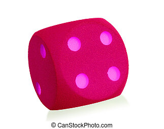 Large pink foam dice isolated - 4 - Large pink foam dice...