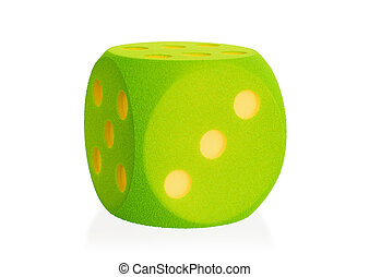 Large green foam dice isolated - 3 - Large green foam dice...