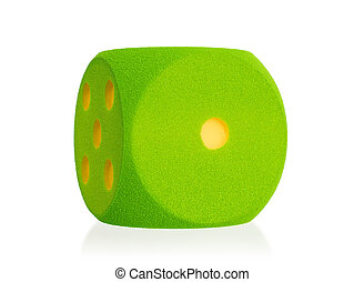 Large green foam dice isolated - 1 - Large green foam dice...