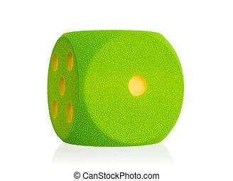 Large green foam dice isolated - 1 - Large green foam dice...