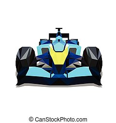 Polygonal formula car. Colorful vector formula racing car, one abstract geometric automobile. Front view