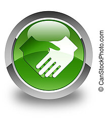 Handshake icon glossy soft green round button