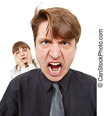 Man angry, he was furious Woman in horror - A man angry, he...