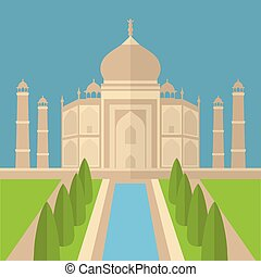 Taj Mahal Temple Landmark in Agra, India. Indian white...