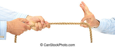 Business competition - Businessman pulling on a piece of...