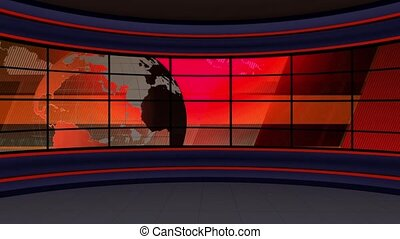 News TV Studio Set- - News TV Studio Set 98 - Virtual Green...
