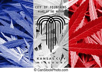 Flag of Kansas City, Missouri, on cannabis background