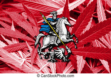 Flag of Moscow, on cannabis background
