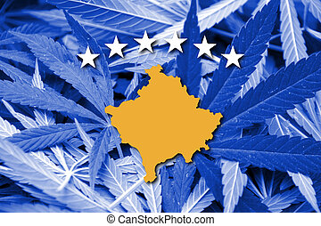 Flag of Kosovo, on cannabis background