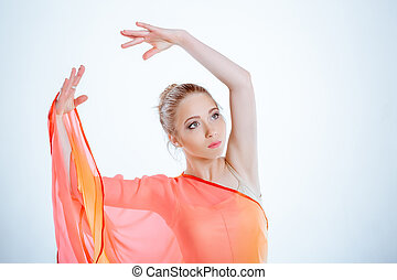 dancer in yellow dress - portrait of beautiful young woman...