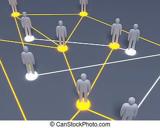 Social Network - Connected People. 3D rendered illustration....