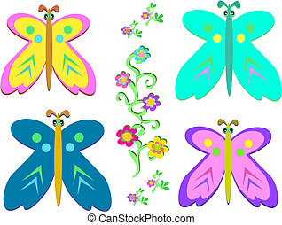 Mix of Butterflies and Vines