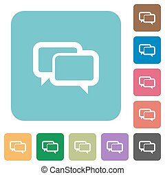 Flat chat bubbles icons on rounded square color backgrounds.