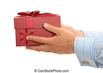 Gift box - Business man offering a gift over a white...
