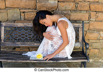 Love letter and woman in lace - Stunning young woman dressed...