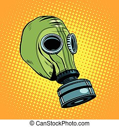 Gas mask, vintage rubber green, Retro background