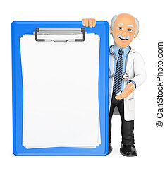 3D Doctor with a blank clipboard