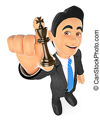 3D Businessman with chess king. Strategist - 3d business...