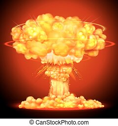 Nuclear bomb explosion - illustration of Nuclear bomb...