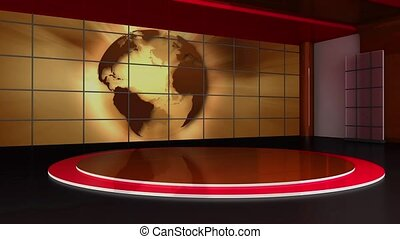 News TV Studio Set - - News TV Studio Set 156-Virtual Green...