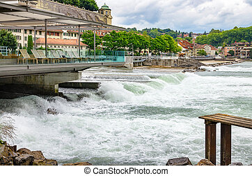 Aare river Bern, Switzerland - View of Aare river and old...