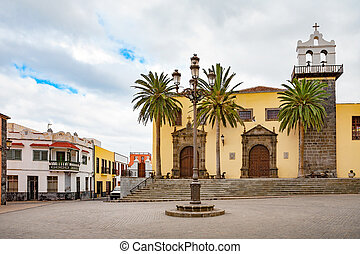 Main square of Garachico Tenerife, Canary Islands, Spain -...