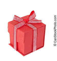 Red gift box on a white background - Red gift box tied with...