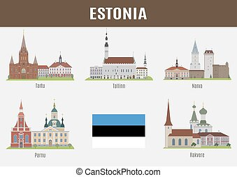 Famous Places of Estonian Cities Vector set of high-quality