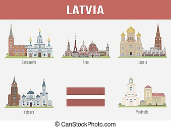 Famous Places cities of Latvia Vector set of high-quality