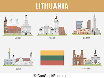 Famous Places Lithuanian cities Vector set of high-quality
