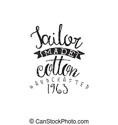 Tailor Made Cotton Vintage Emblem Hand Drawn Vintage Vector...