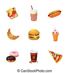 Fast Food Items Set Of Realistic Design Vector Stickers...