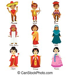 Kids In National Costumes Set Of Cute Bright Color Childish...