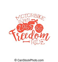 Best Motorbike Orange Vintage Emblem. Hand Drawn Vintage...