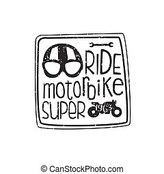 Ride Motorbike Vintage Emblem. Hand Drawn Vintage Vector...