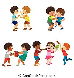 Kids Bullies Illustration - Kids Bullies Childish Cartoon...