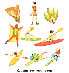 Extreme Sports Sticker Collection Of Cool Stylized Flat...