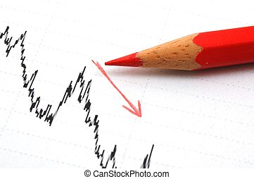 free fall of the stock market concept with red pen and...