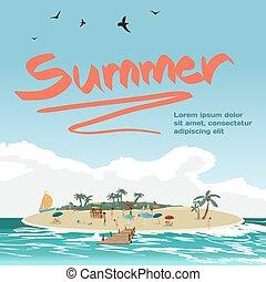 estate, vacanza, concetto, fondo, con, spazio, per, text.,...