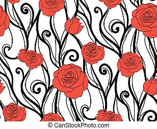 Seamless texture with roses and vines on a white background. Vector background for scrapbooking and your creativity
