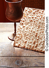 Matzoh Near Wine - Seder concept. Still life with matzoh...