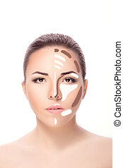 Contouring.Make up woman face. Contour and highlight makeup....
