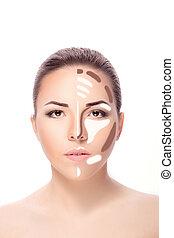 Contouring.Make up woman face. Contour and highlight makeup....