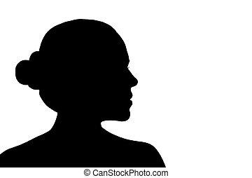 woman silhouette shadow - woman portrait profile in...