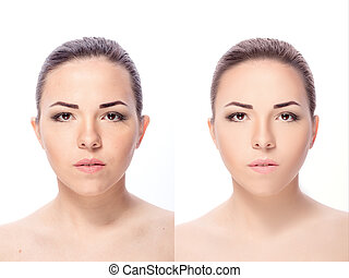 woman, before and after retouch - Young woman, before and...