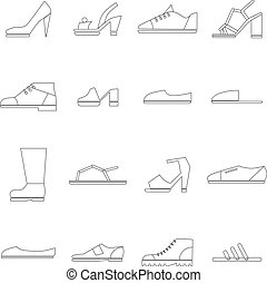 Shoes icons set, thin line style - Shoes icons set in thin...
